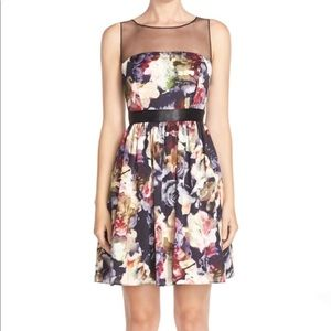Floral Charmeuse Fit & Flare Dress size 8